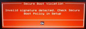 deaktivieren Sie UEFI Secure Boo